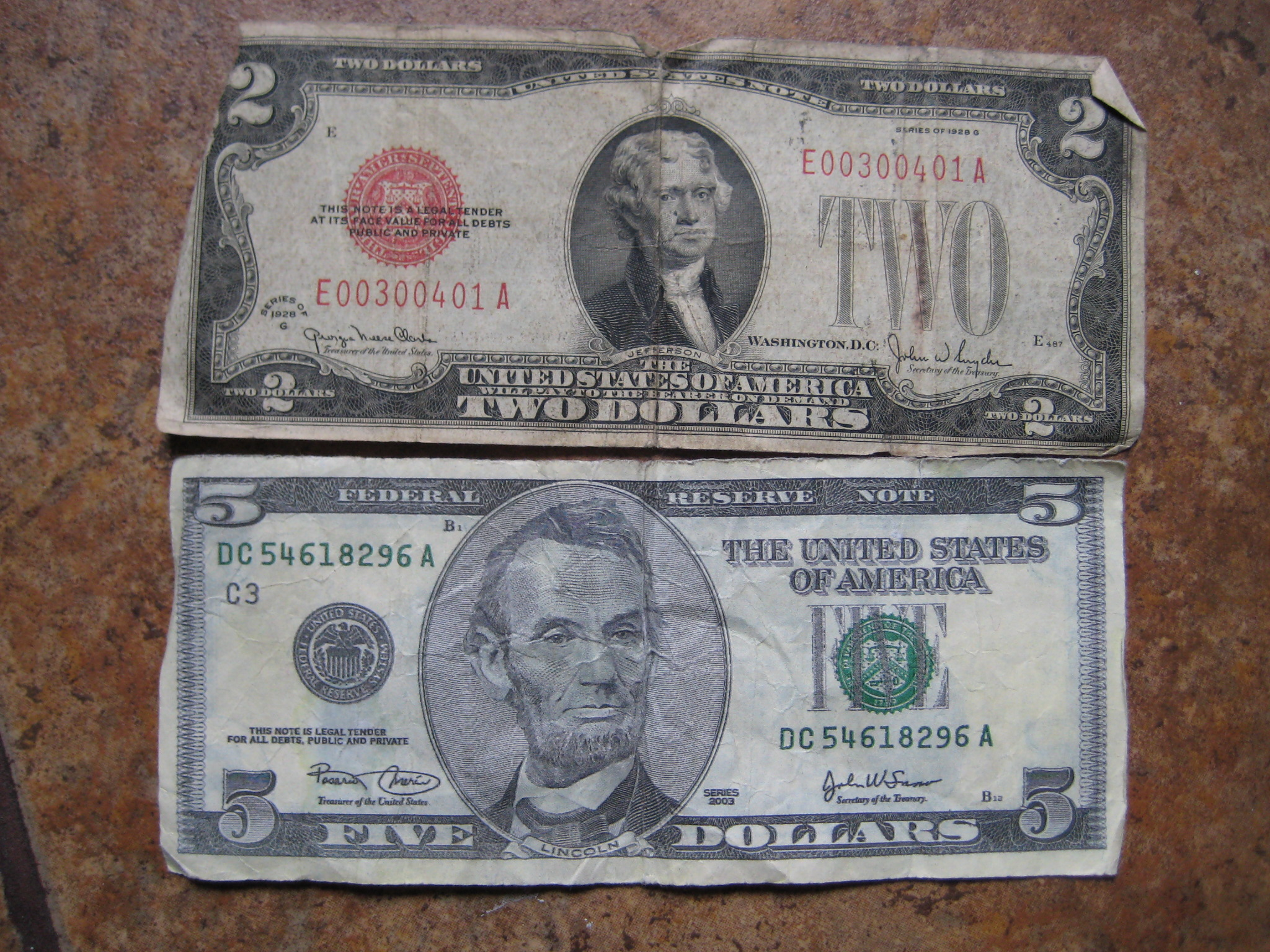 With Series 1928 Two Dollar Bill